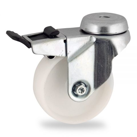 Ruota in accaio zincato girevole con freno 50mm per carelli,ruota di poliammide,foro liscio.Montata con foro passante