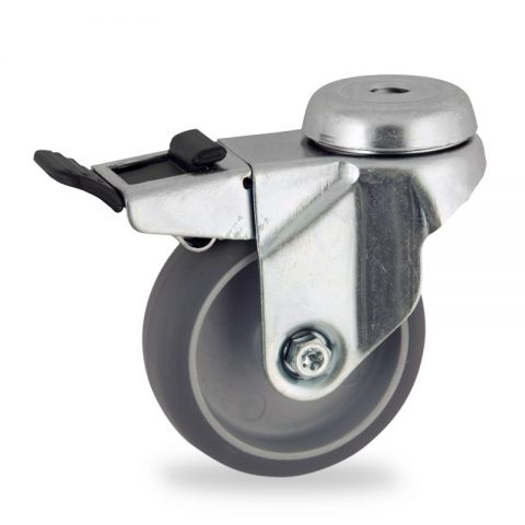 Ruota in accaio zincato girevole con freno 50mm per carelli,ruota di gomma sintetica grigio,foro liscio.Montata con foro passante
