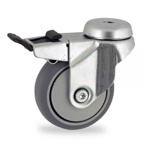 Ruota in accaio zincato girevole con freno 75mm per carelli,ruota di gomma sintetica grigio,foro liscio.Montata con foro passante