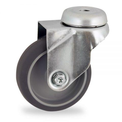 Ruota in accaio zincato girevole 50mm per carelli,ruota di gomma sintetica grigio,foro liscio.Montata con foro passante