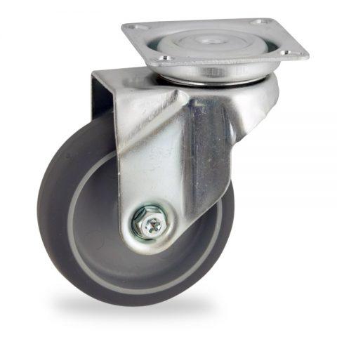 Ruota in accaio zincato girevole 50mm per carelli,ruota di gomma sintetica grigio,foro liscio.Montata con piastra