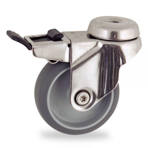 Ruota in inox girevole con freno 100mm per carelli,ruota di gomma sintetica grigio,foro liscio.Montata con foro passante