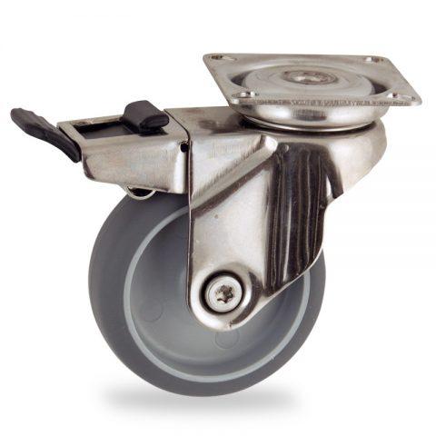 Ruota in inox girevole con freno 50mm per carelli,ruota di gomma sintetica grigio,foro liscio.Montata con piastra