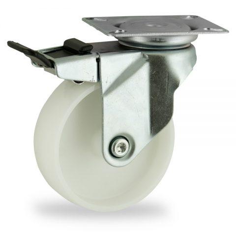 Ruota in accaio zincato girevole con freno 75mm per carelli,ruota di poliammide,foro liscio.Montata con piastra