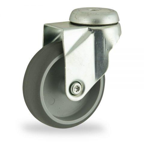 Ruota in accaio zincato girevole 125mm per carelli,ruota di gomma sintetica grigio,foro liscio.Montata con foro passante