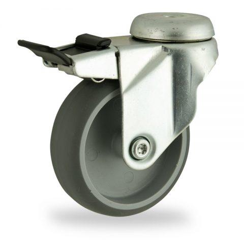 Ruota in accaio zincato girevole con freno 125mm per carelli,ruota di gomma sintetica grigio,foro liscio.Montata con foro passante