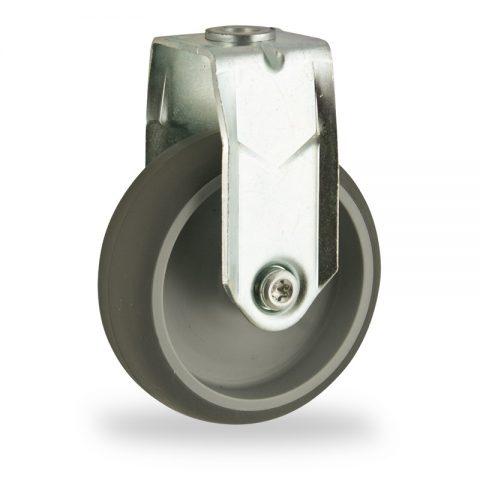 Ruota in accaio zincato fissa  125mm per carelli,ruota di gomma sintetica grigio,foro liscio.Montata con foro passante