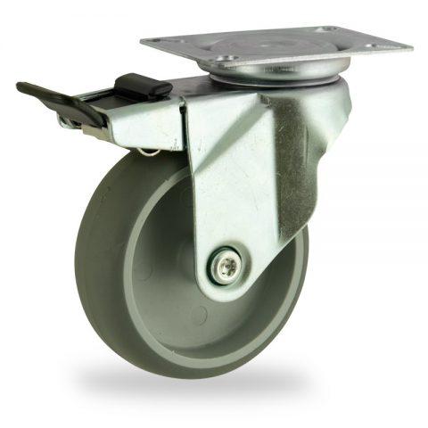 Ruota in accaio zincato girevole con freno 125mm per carelli,ruota di gomma sintetica grigio,foro liscio.Montata con piastra