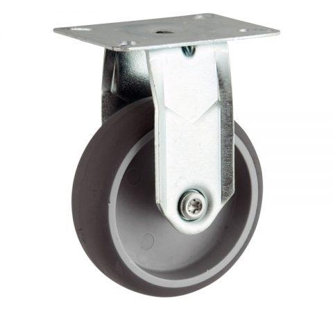 Ruota in accaio zincato fissa  150mm per carelli,ruota di gomma sintetica grigio,foro liscio.Montata con piastra