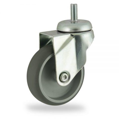 Ruota in accaio zincato girevole 75mm per carelli,ruota di gomma sintetica grigio,foro liscio.Montata con Montata con codolo filetato