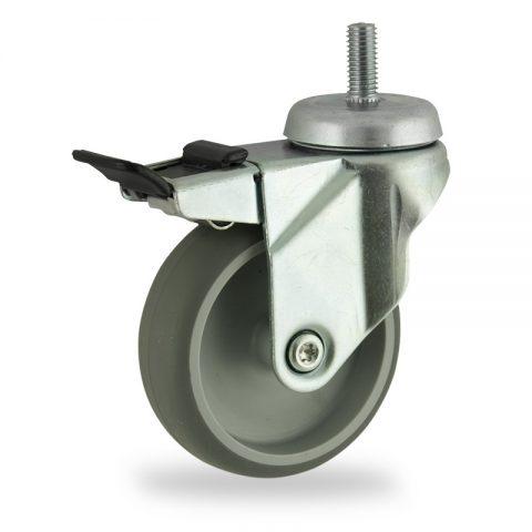 Ruota in accaio zincato girevole con freno 75mm per carelli,ruota di gomma sintetica grigio,foro liscio.Montata con Montata con codolo filetato