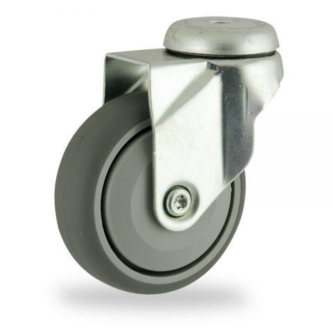 Ruota in accaio zincato girevole 125mm per carelli,ruota di gomma sintetica grigio,Precisione singolo cuscinetto.Montata con foro passante