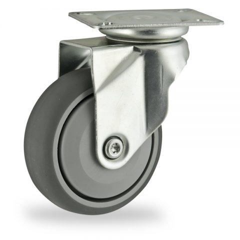 Ruota in accaio zincato girevole 125mm per carelli,ruota di gomma sintetica grigio,Precisione singolo cuscinetto.Montata con piastra