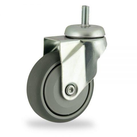 Ruota in accaio zincato girevole 100mm per carelli,ruota di gomma sintetica grigio,Precisione singolo cuscinetto.Montata con Montata con codolo filetato