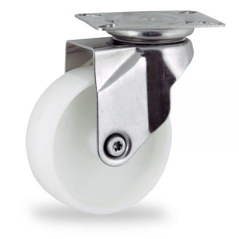 Ruota in inox girevole 150mm per carelli,ruota di poliammide,foro liscio.Montata con piastra