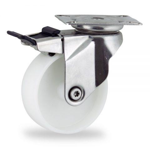 Ruota in inox girevole con freno 150mm per carelli,ruota di poliammide,foro liscio.Montata con piastra