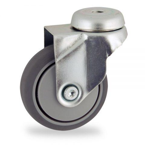 Ruota in accaio zincato girevole 75mm per carelli,ruota di gomma sintetica grigio,foro liscio.Montata con foro passante