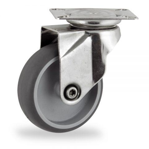 Ruota in inox girevole 100mm per carelli,ruota di gomma sintetica grigio,foro liscio.Montata con piastra