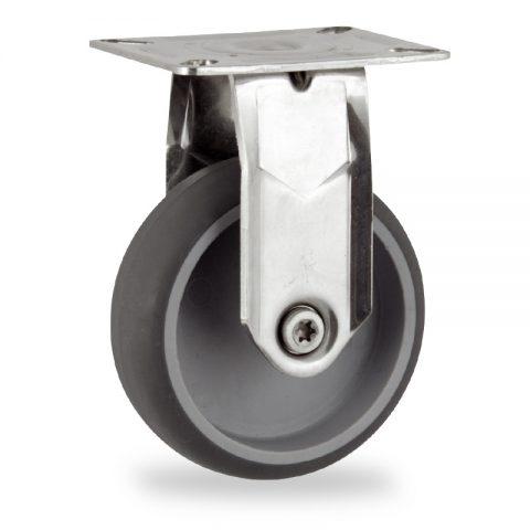Ruota in inox fissa  125mm per carelli,ruota di gomma sintetica grigio,foro liscio.Montata con piastra