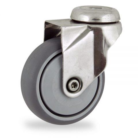 Ruota in inox girevole 125mm per carelli,ruota di gomma sintetica grigio,Precisione singolo cuscinetto.Montata con foro passante