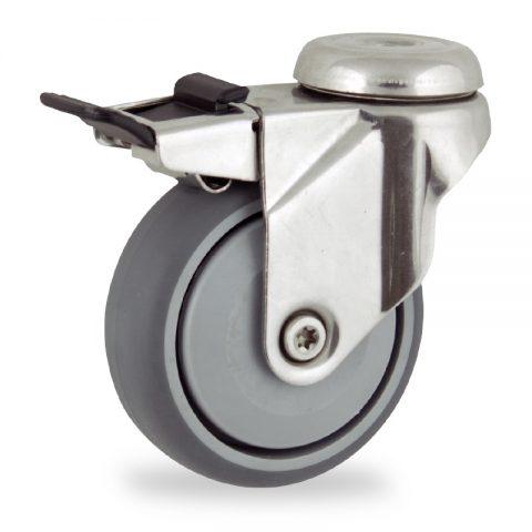 Ruota in inox girevole con freno 125mm per carelli,ruota di gomma sintetica grigio,Precisione singolo cuscinetto.Montata con foro passante