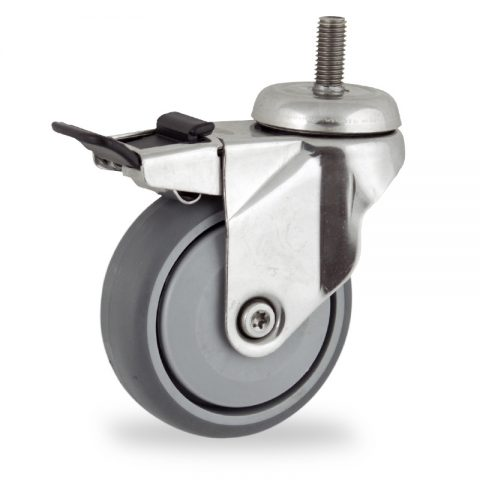 Ruota in inox girevole con freno 75mm per carelli,ruota di gomma sintetica grigio,Precisione singolo cuscinetto.Montata con Montata con codolo filetato