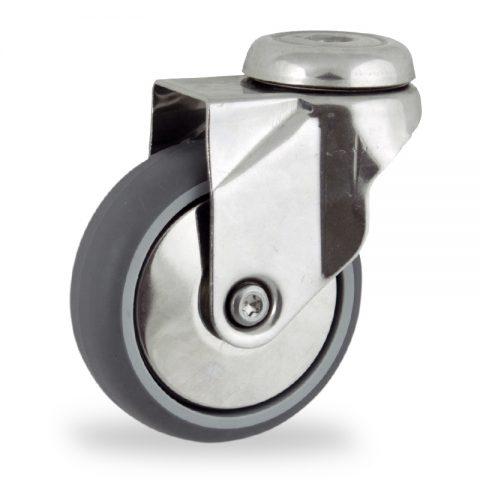 Ruota in inox girevole 125mm per carelli,ruota di gomma sintetica grigio,foro liscio.Montata con foro passante