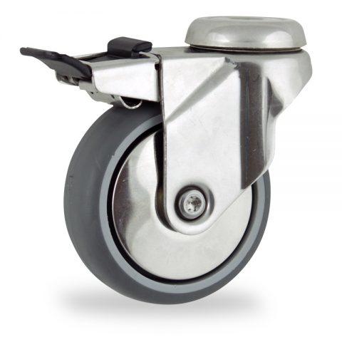 Ruota in inox girevole con freno 125mm per carelli,ruota di gomma sintetica grigio,foro liscio.Montata con foro passante