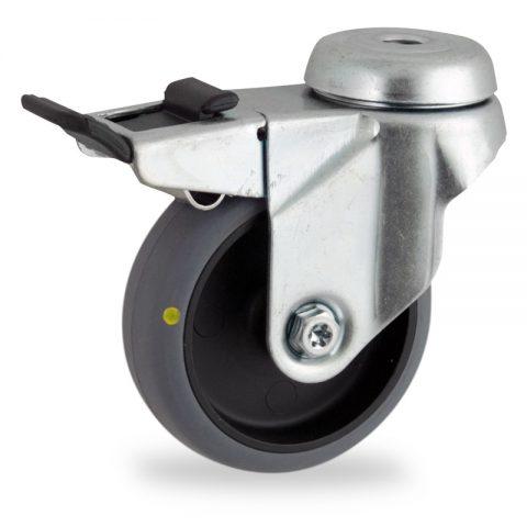 Ruota in accaio zincato girevole con freno 50mm per carelli,ruota di condutive gomma sintetica grigio,foro liscio.Montata con foro passante