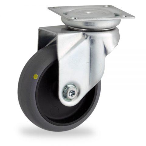 Ruota in accaio zincato girevole 50mm per carelli,ruota di condutive gomma sintetica grigio,foro liscio.Montata con piastra
