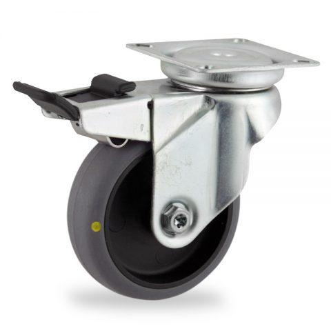 Ruota in accaio zincato girevole con freno 75mm per carelli,ruota di condutive gomma sintetica grigio,foro liscio.Montata con piastra