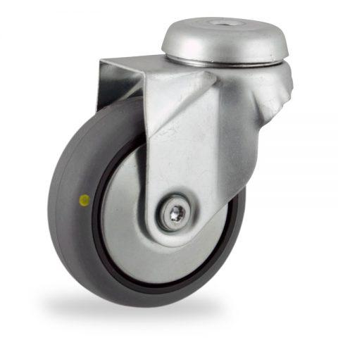 Ruota in accaio zincato girevole 50mm per carelli,ruota di condutive gomma sintetica grigio,foro liscio.Montata con foro passante