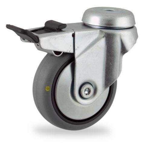 Ruota in accaio zincato girevole con freno 75mm per carelli,ruota di condutive gomma sintetica grigio,Doppi cuscinetti a sfere.Montata con foro passante