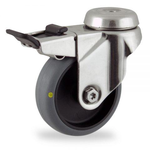 Ruota in inox girevole con freno 75mm per carelli,ruota di condutive gomma sintetica grigio,foro liscio.Montata con foro passante