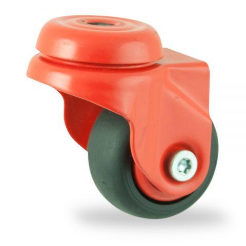 Ruota coloratagirevole 50mm per carelli,ruota di condutive gomma sintetica nero,foro liscio.Montata con foro passante