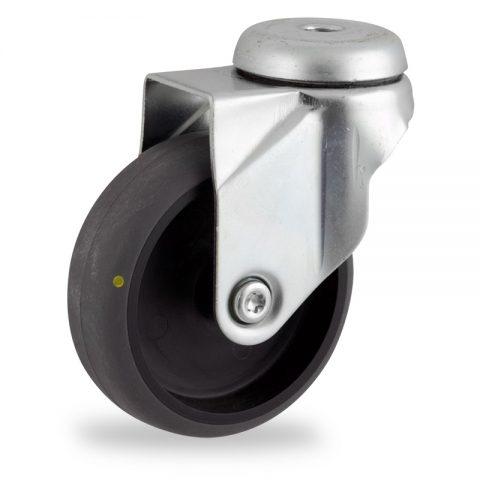 Ruota in accaio zincato girevole 100mm per carelli,ruota di condutive gomma sintetica grigio,foro liscio.Montata con foro passante