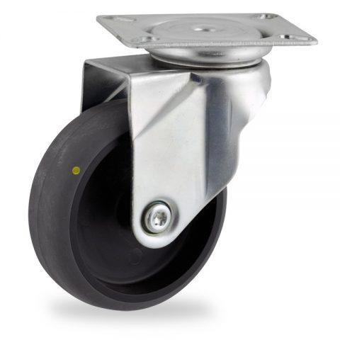 Ruota in accaio zincato girevole 125mm per carelli,ruota di condutive gomma sintetica grigio,foro liscio.Montata con piastra