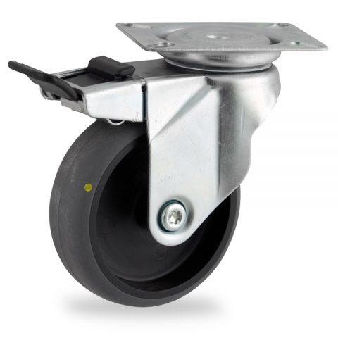 Ruota in accaio zincato girevole con freno 125mm per carelli,ruota di condutive gomma sintetica grigio,foro liscio.Montata con piastra