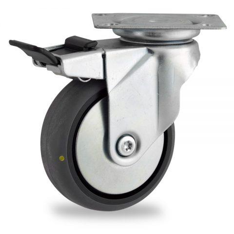 Ruota in accaio zincato girevole con freno 100mm per carelli,ruota di condutive gomma sintetica grigio,foro liscio.Montata con piastra