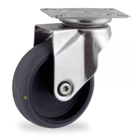 Ruota in inox girevole 125mm per carelli,ruota di condutive gomma sintetica grigio,foro liscio.Montata con piastra