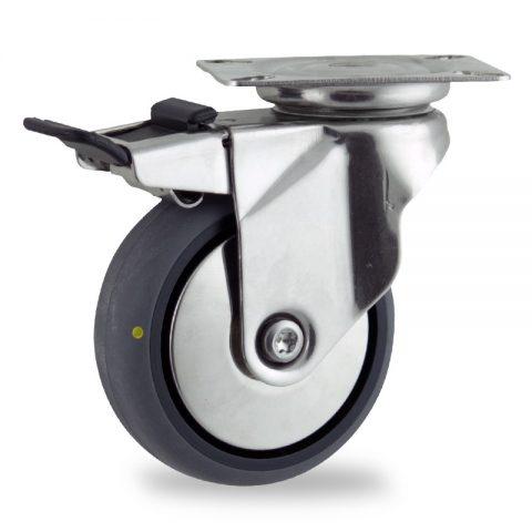 Ruota in inox girevole con freno 125mm per carelli,ruota di condutive gomma sintetica grigio,foro liscio.Montata con piastra