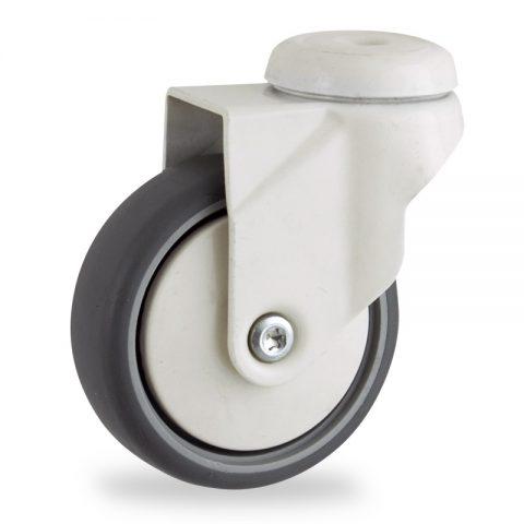 Ruota coloratagirevole 100mm per carelli,ruota di gomma sintetica grigio,foro liscio.Montata con foro passante