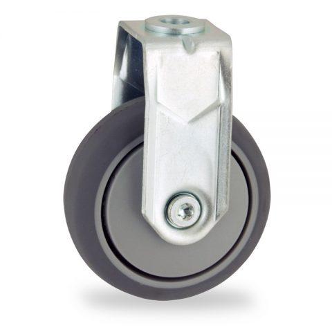 Ruota in accaio zincato fissa  75mm per carelli,ruota di gomma sintetica grigio,foro liscio.Montata con foro passante
