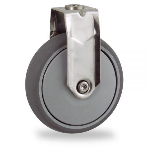 Ruota in inox fissa  125mm per carelli,ruota di gomma sintetica grigio,Precisione singolo cuscinetto.Montata con foro passante