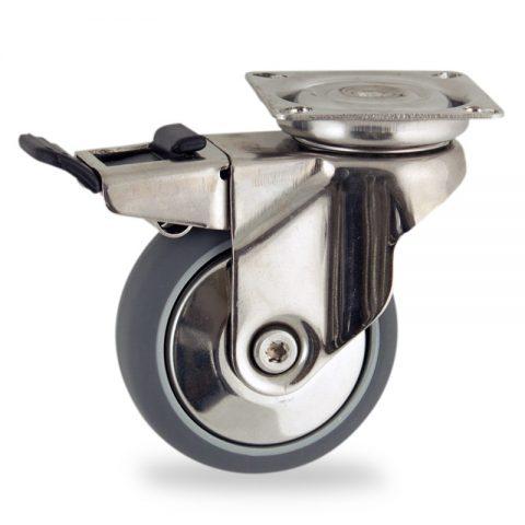 Ruota in inox girevole con freno 100mm per carelli,ruota di gomma sintetica grigio,foro liscio.Montata con piastra