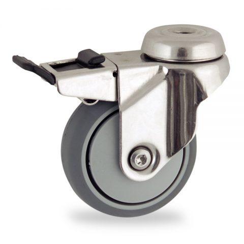Ruota in inox girevole con freno 75mm per carelli,ruota di gomma sintetica grigio,foro liscio.Montata con foro passante