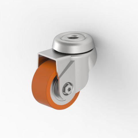 Ruota in accaio zincato girevole 50mm per carelli,ruota di poliuretano,doppi cuscinetti a sfere.Montata con foro passante