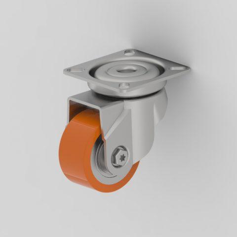 Ruota in accaio zincato girevole 50mm per carelli,ruota di poliuretano,doppi cuscinetti a sfere.Montata con piastra